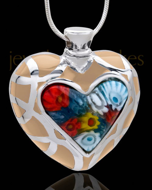 Silver Plated Victorious Heart Cremation Urn Pendant