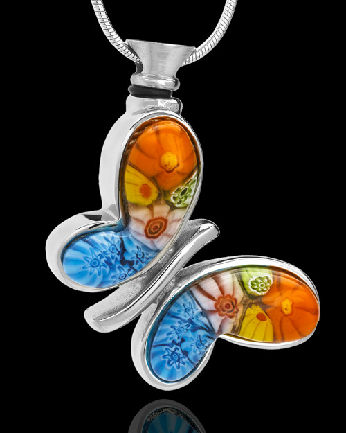 Stainless Plated Colorful Fly Away Butterfly Remembrance Keepsake