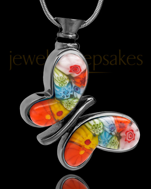 Black Plated Multi Color Butterfly Fly Away Urn Charm