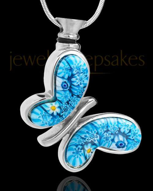 Stainless Steel Fly Away Blue Butterfly Remembrance Charm