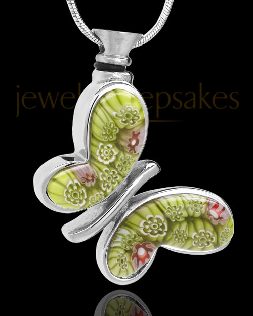 Silver Plated Green Fly Away Butterfly Keepsake Jewelry