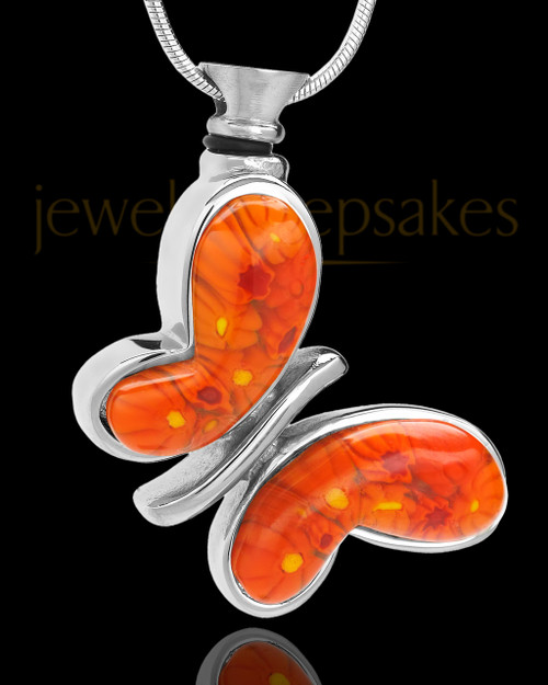 Silver Plated Tangerine Fly Away Butterfly Ash Keepsake
