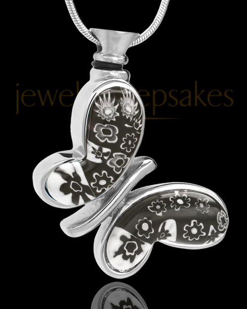 Silver Plated Black White Butterfly Fly Away Remembrance Locket