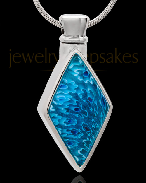 Silver Plated Blinding Blue Cremation Urn Pendant