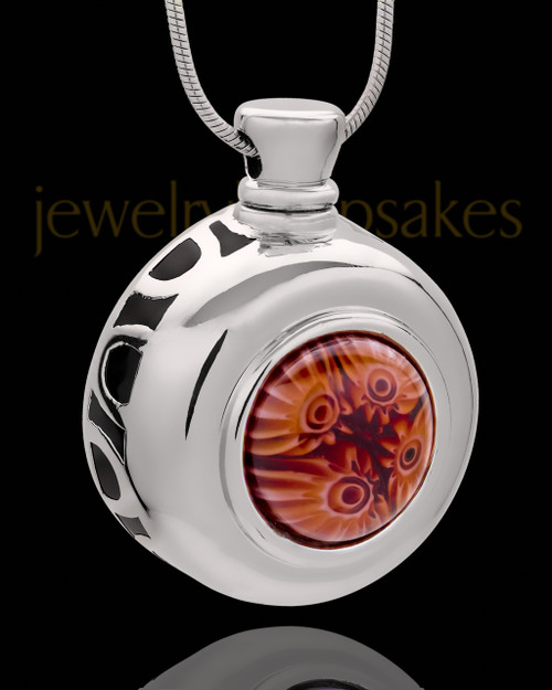 Silver Plated Adorable Round Cremation Urn Pendant