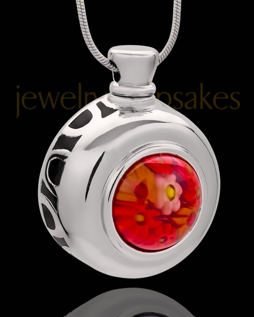 Silver Plated Budding Round Cremation Urn Pendant
