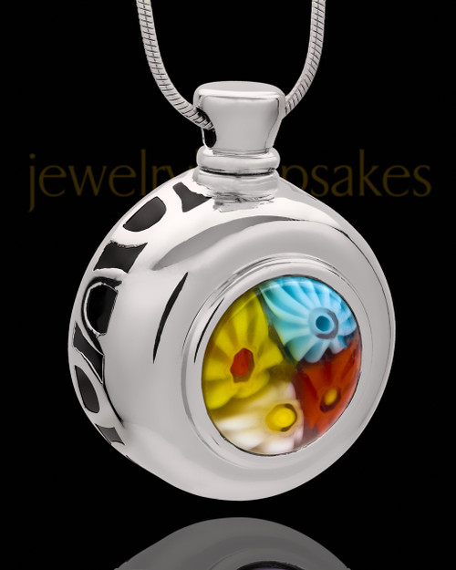 Silver Plated Jolly Round Cremation Urn Pendant