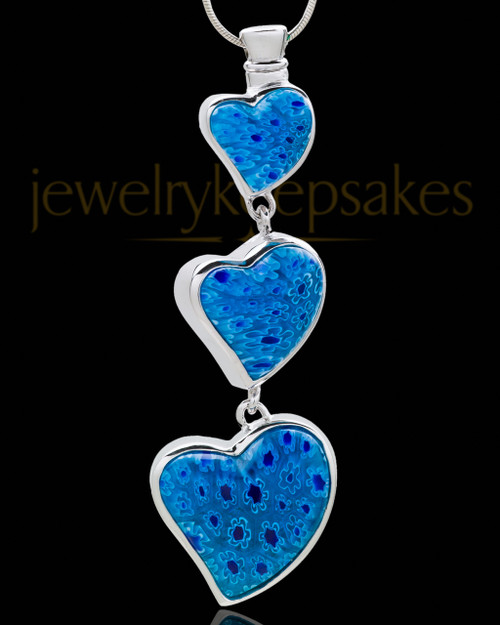 Silver Plated Blue Hanging Hearts Cremation Urn Pendant