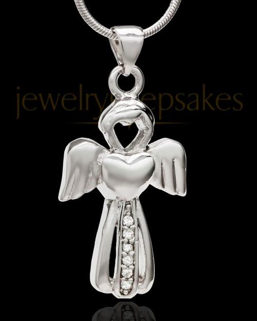 Sterling Silver Heavenly Attendant Cremation Urn Pendant