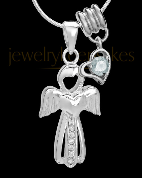 Sterling Silver April Heavenly Attendant Cremation Urn Pendant