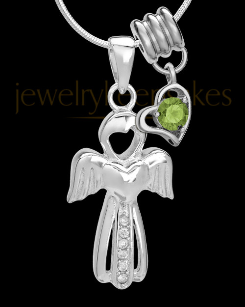 Sterling Silver August Heavenly Attendant Cremation Urn Pendant