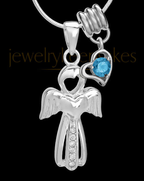 Sterling Silver December Heavenly Attendant Cremation Urn Pendant