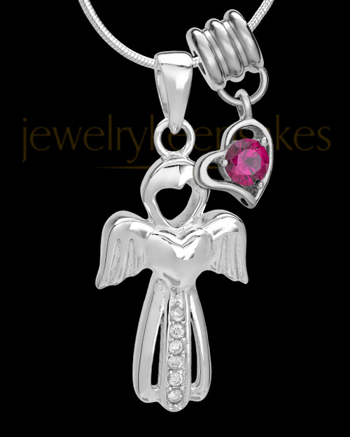 Sterling Silver July Heavenly Attendant Cremation Urn Pendant