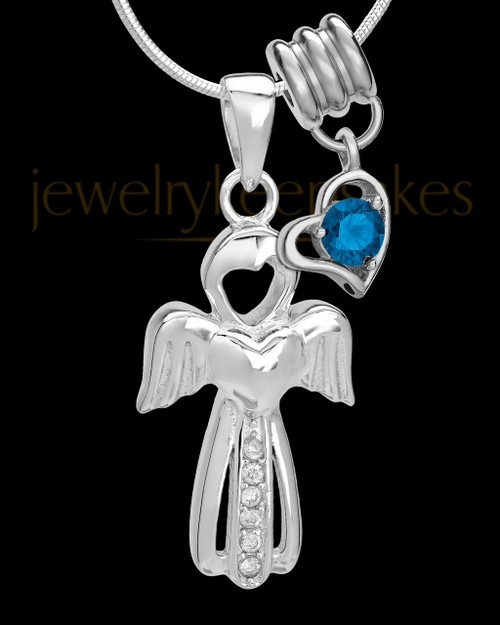 Sterling Silver September Heavenly Attendant Cremation Urn Pendant