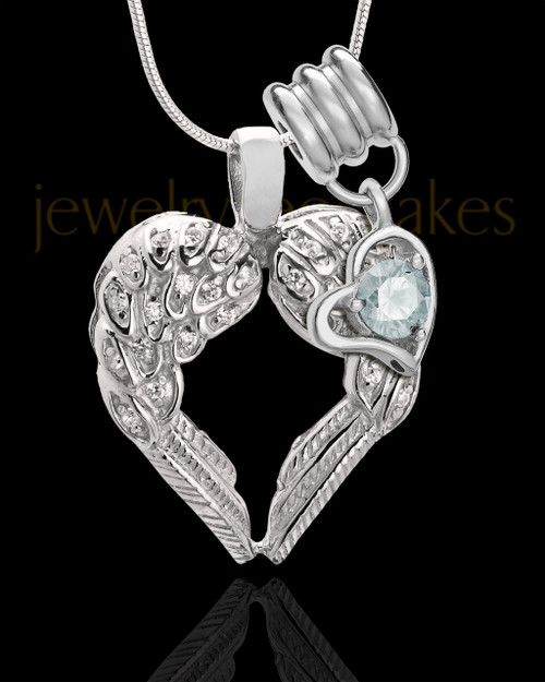 April Winged Memories' Sterling Silver Heart Cremation Pendant
