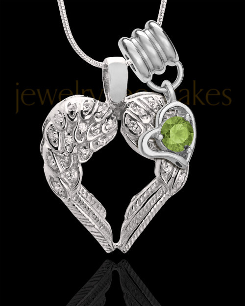 August Winged Memories' Sterling Silver Heart Cremation Pendant