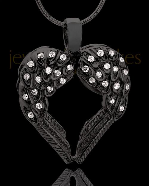 Black Plated Winged Memories Heart Keepsake Jewelry