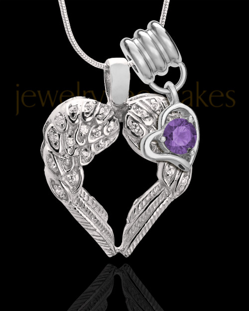 February Winged Memories' Sterling Silver Heart Cremation Pendant