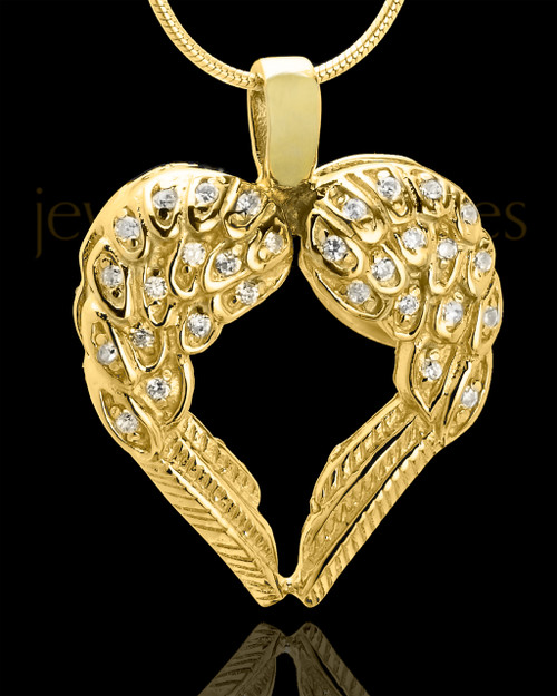 Gold Plated Winged Memories Heart Keepsake Jewelry