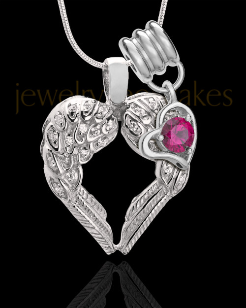 July Winged Memories' Sterling Silver Heart Cremation Pendant