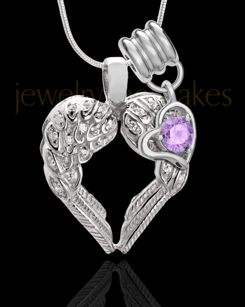 June Winged Memories' Sterling Silver Heart Cremation Pendant
