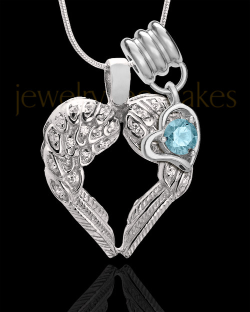 March Winged Memories' Sterling Silver Heart Cremation Pendant