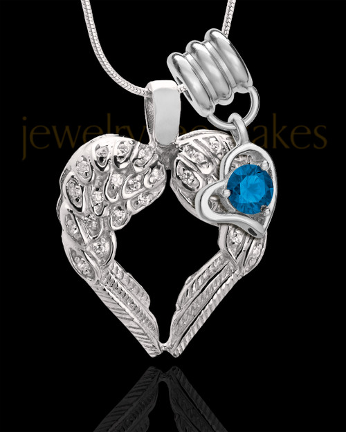 September Winged Memories' Sterling Silver Heart Cremation Pendant