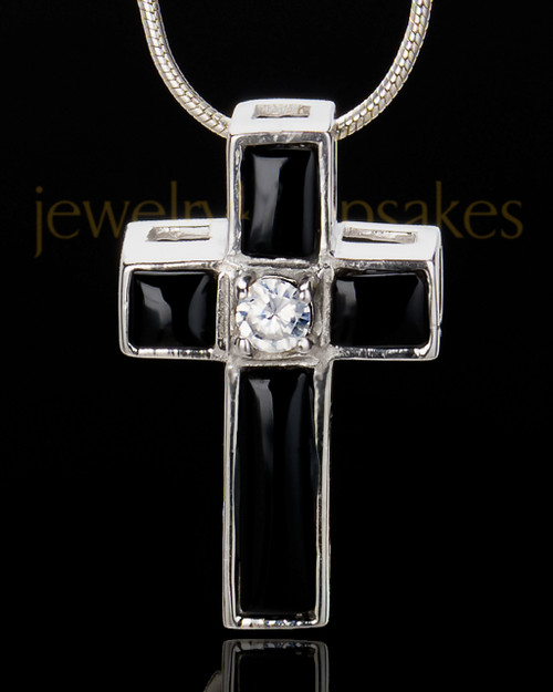 Sterling Silver Cross of Worship Cremation Urn Pendant