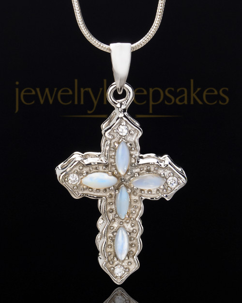 Sterling Silver Devout Cross Cremation Urn Pendant