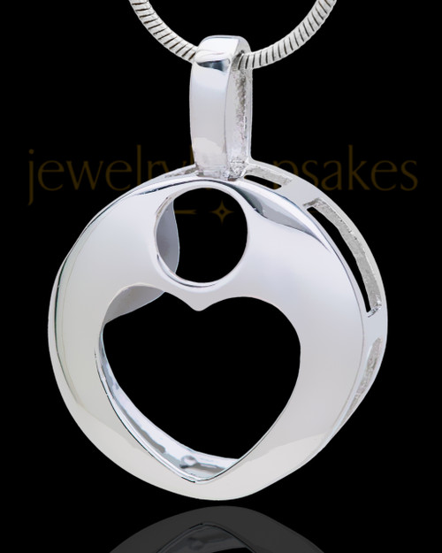 Silver Plated Translucent Heart Cremation Urn Pendant