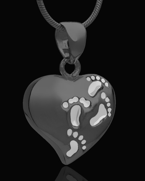 Black Plated Journey to My Heart Cremation Urn Pendant