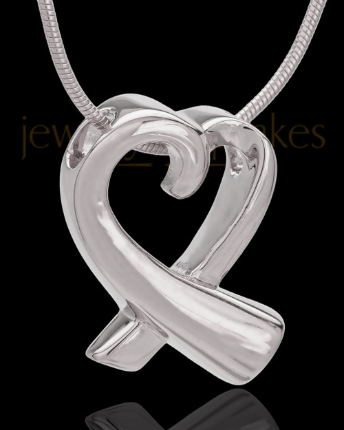 Sterling Silver Ribboned Heart Cremation Urn Pendant