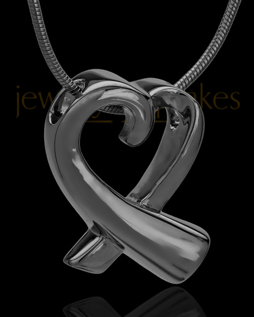 Black Plated Ribboned Heart Cremation Urn Pendant