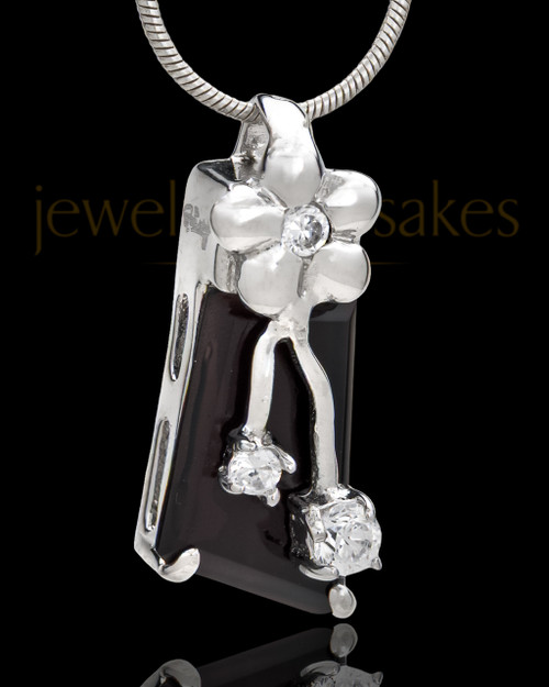 Silver Plated Blooming Memories Cremation Urn Pendant