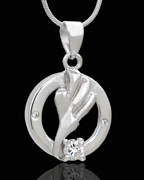 Silver Plated Lillian Cremation Urn Pendant