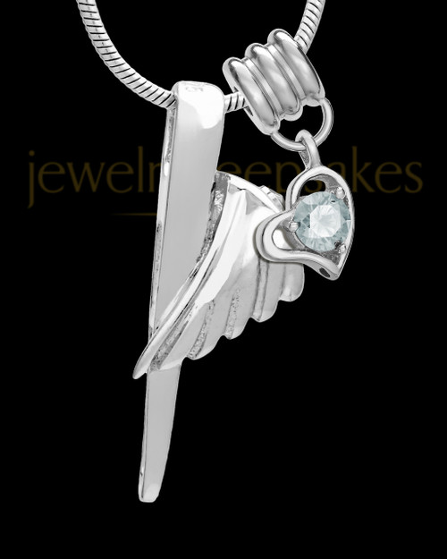 Sterling Silver Grace Cremation Urn Pendant - April