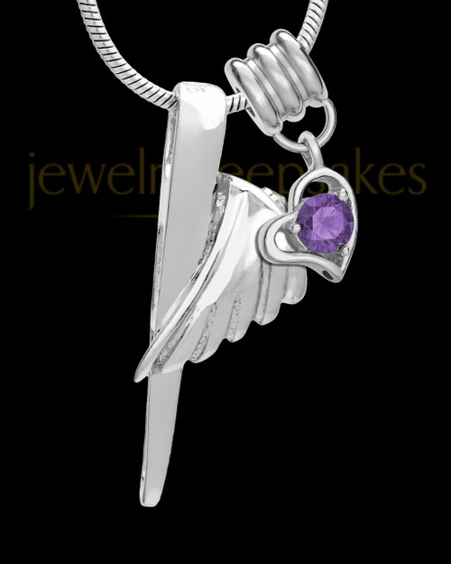 Sterling Silver Grace Cremation Urn Pendant - February