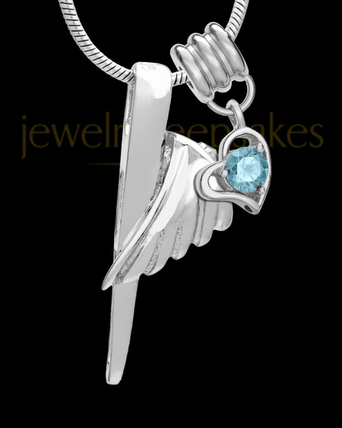 Sterling Silver Grace Cremation Urn Pendant - March