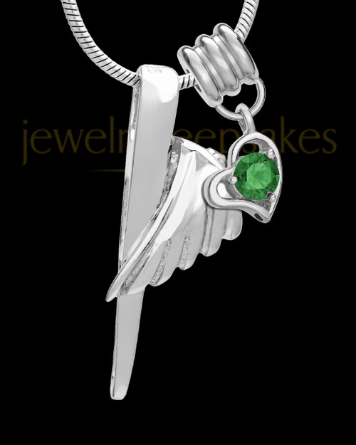 Sterling Silver Grace Cremation Urn Pendant - May