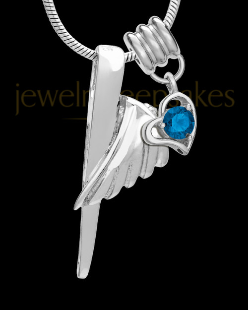 Sterling Silver Grace Cremation Urn Pendant - September