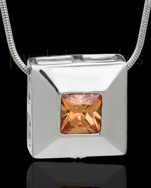 Silver Plated Autumn Cremation Urn Pendant