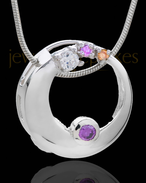 Silver Plated Premiere Round Cremation Urn Pendant