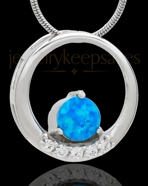 Silver Plated Obedient Round Cremation Urn Pendant