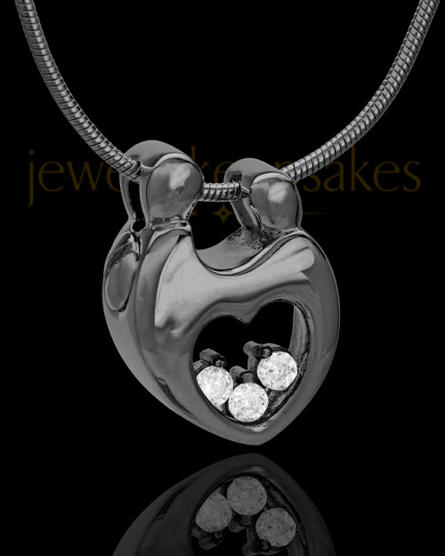 Black Plated Connections Cremation Urn Pendant