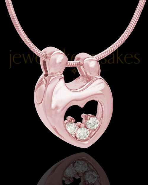 Rose Gold Plated Connections Cremation Urn Pendant