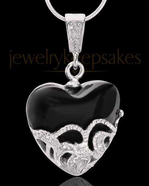 Sterling Silver Bundled Heart Cremation Urn Pendant