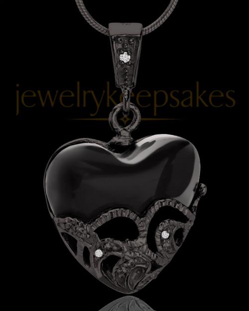 Black Plated Bundled Heart Keepsake Jewelry