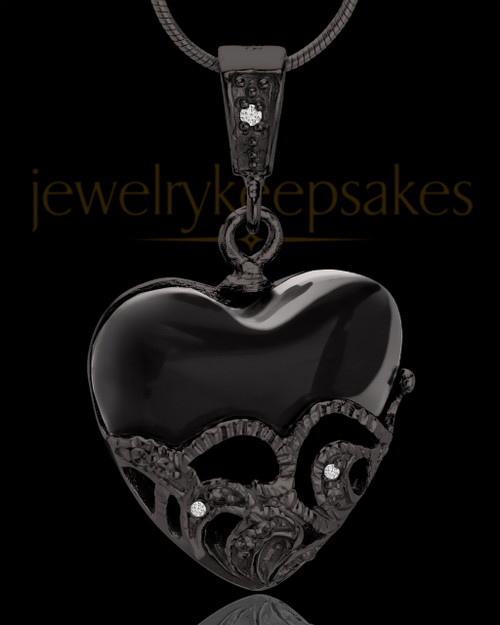 Black Plated Bundled Heart Keepsake Jewelry