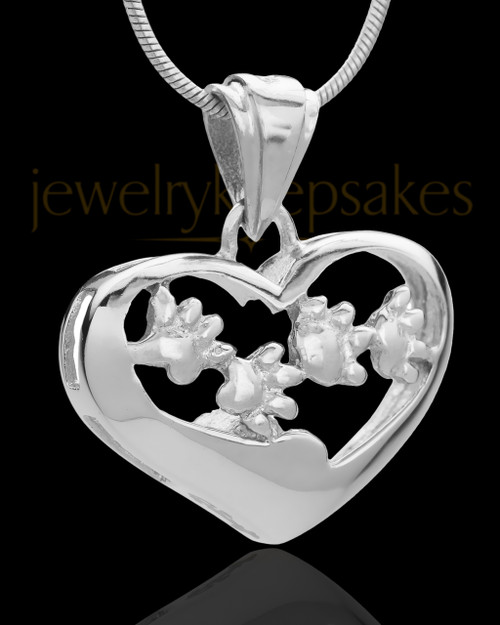 Silver Plated Lighthearted Pet Cremation Urn Pendant