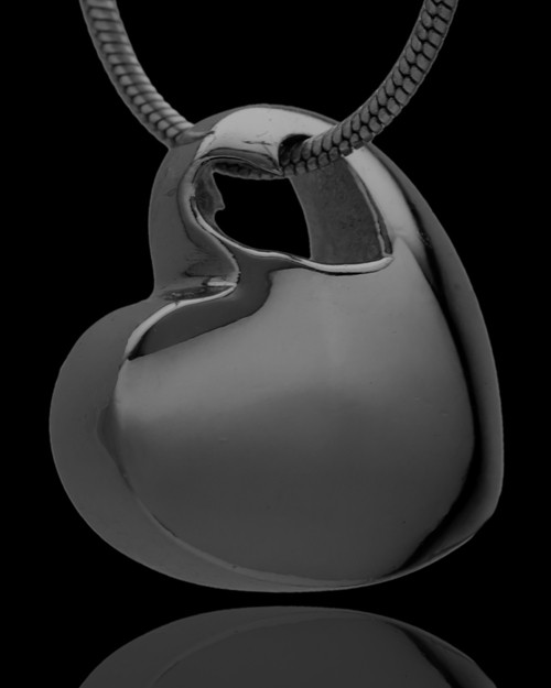 Small Natural Heart Cremation Urn Pendant Black Plated